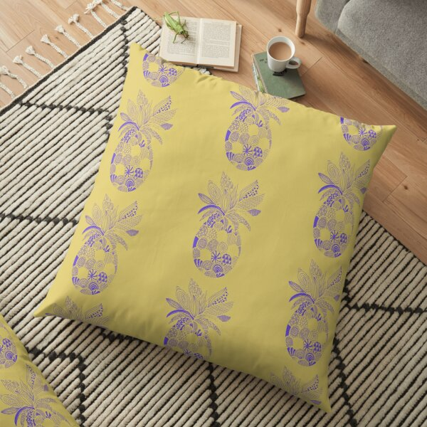 Purple Pineapple Line Drawing with Patterns Floor Pillow