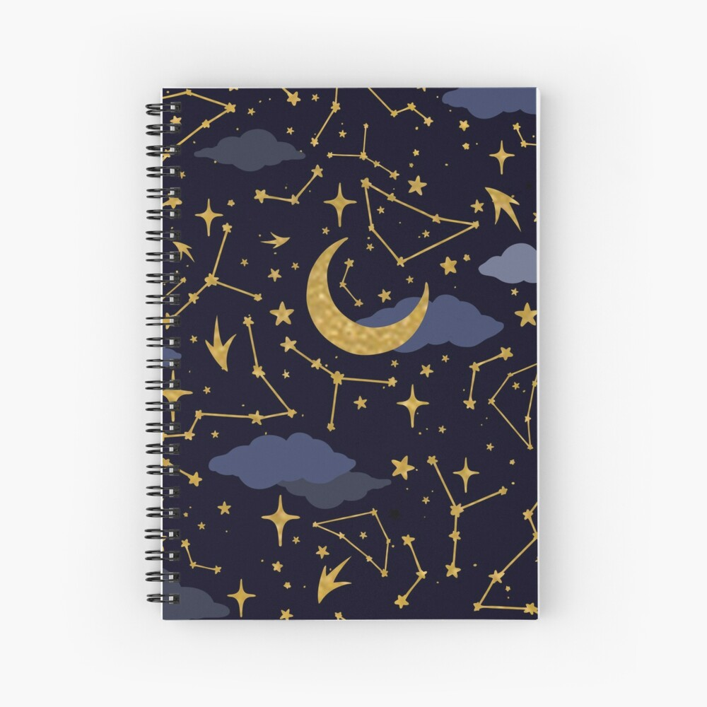 Celestial Stars and Moons in Gold and Dark Blue Spiral Notebook