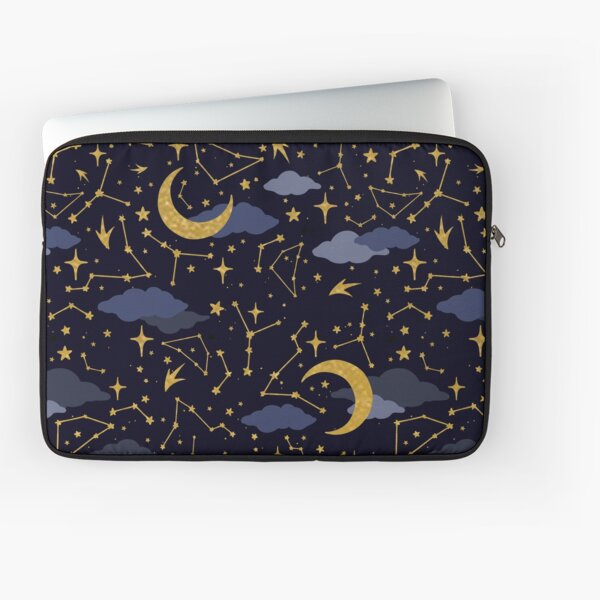 Celestial Stars and Moons in Gold and Dark Blue Laptop Sleeve