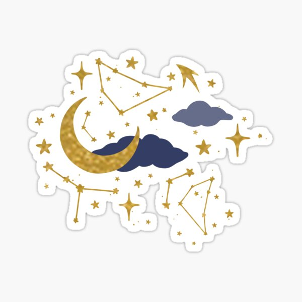 Celestial Stars and Moons in Gold and Dark Blue Sticker