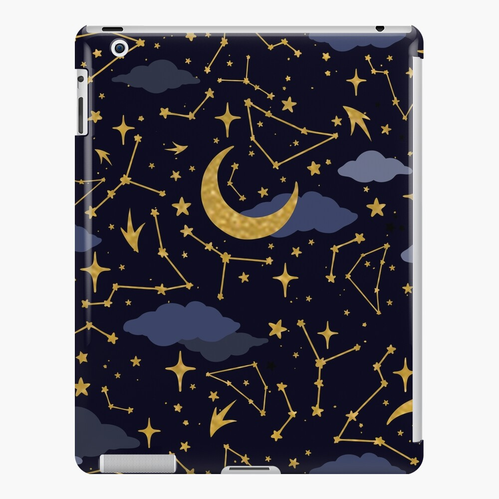 Celestial Stars and Moons in Gold and Dark Blue iPad Snap Case