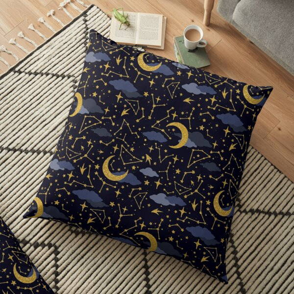 Celestial Stars and Moons in Gold and Dark Blue Floor Pillow