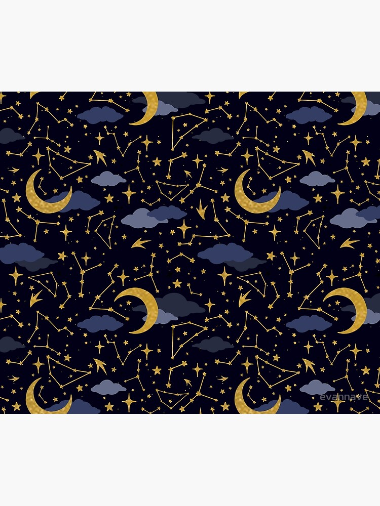 Celestial Stars and Moons in Gold and Dark Blue by evannave