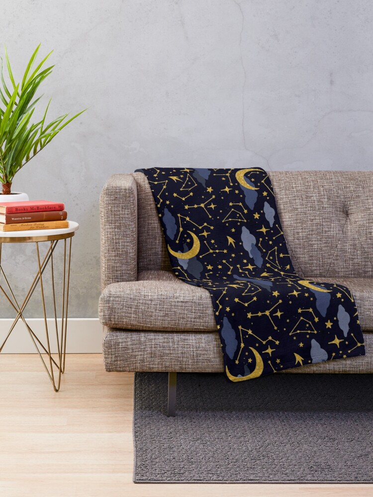 Alternate view of Celestial Stars and Moons in Gold and Dark Blue Throw Blanket