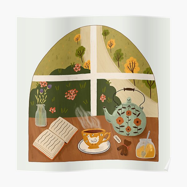 Tea Time by the Window Poster