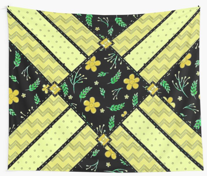 Trendy Spring Yellow Patchwork Flowers Wall Tapestry