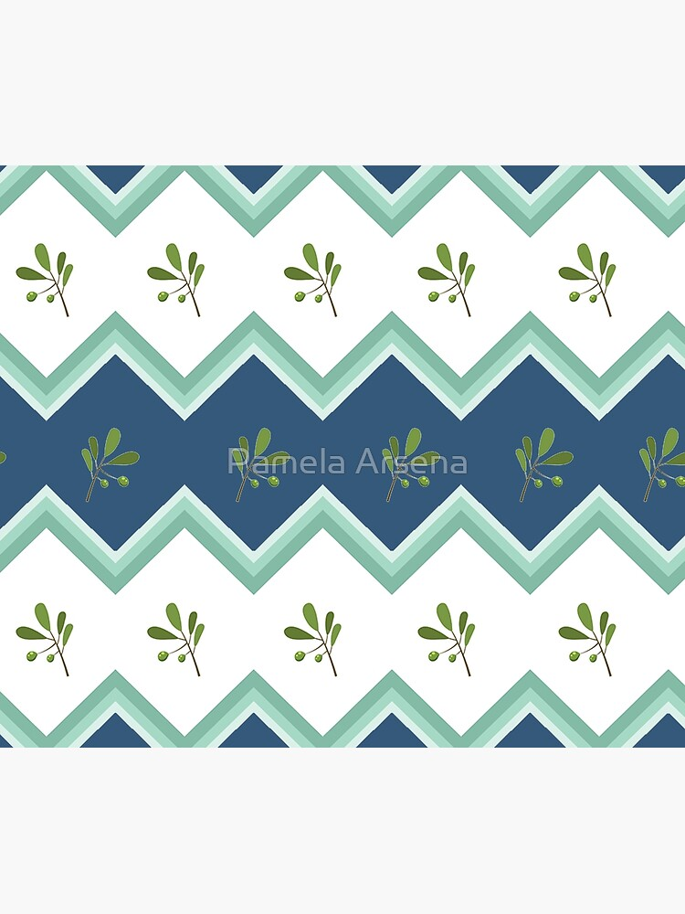 Trendy Green Chevron Flower Stripe Print by xpressio
