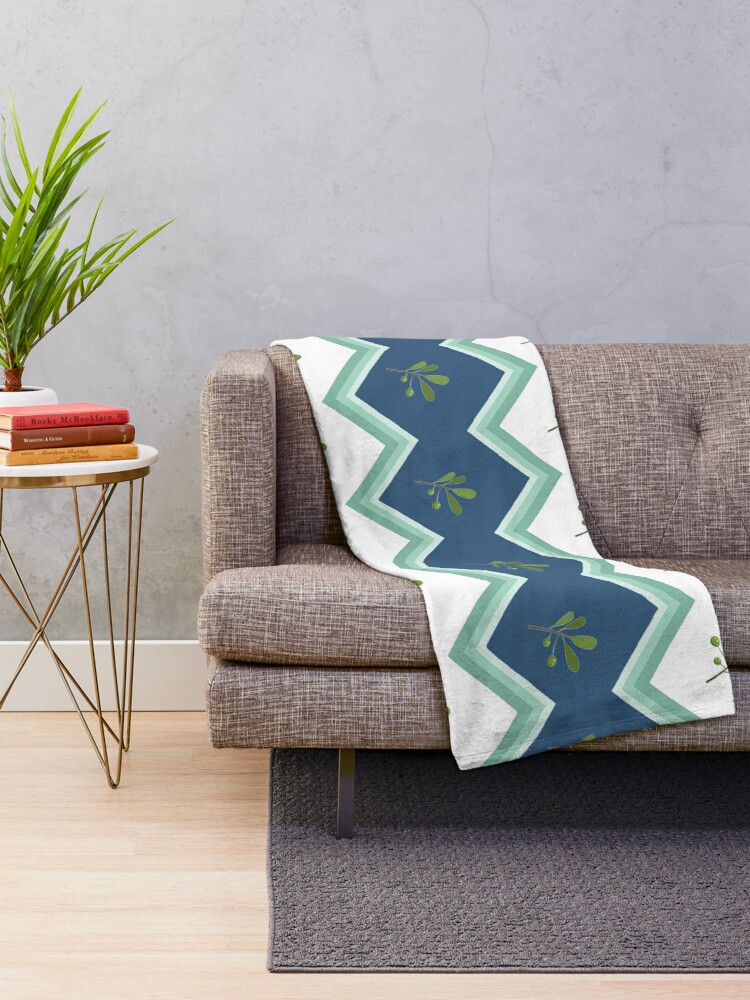Alternate view of Trendy Green Chevron Flower Stripe Print Throw Blanket