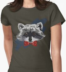 Red Bowtie Raccoon Womens Fitted T-Shirt