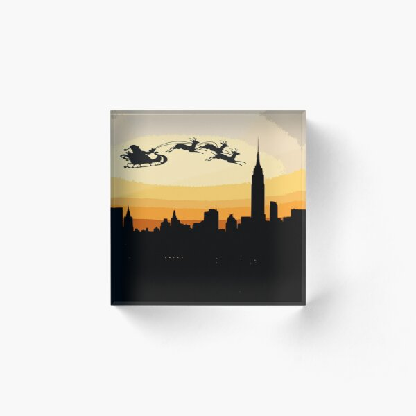Santa over New York City Acrylic Block