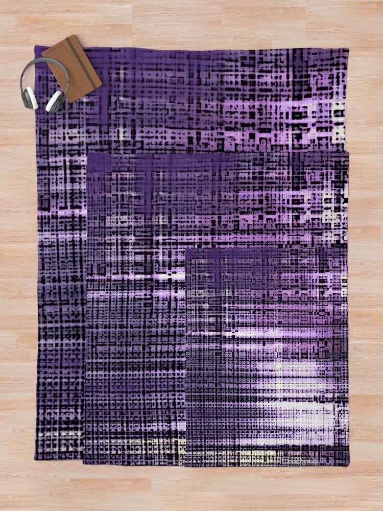 Alternate view of  Grunge Retro Print Metallic Purple Throw Blanket