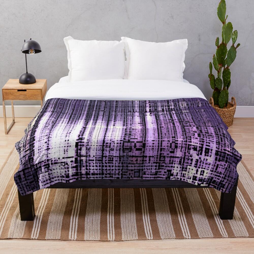 Grunge Retro Print Metallic Purple Throw Blanket