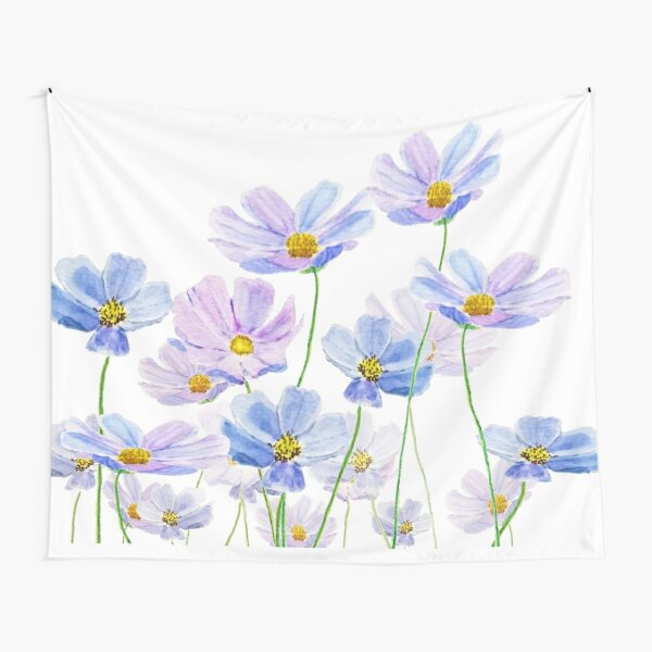 purple and blue cosmos flower watercolor Tapestry