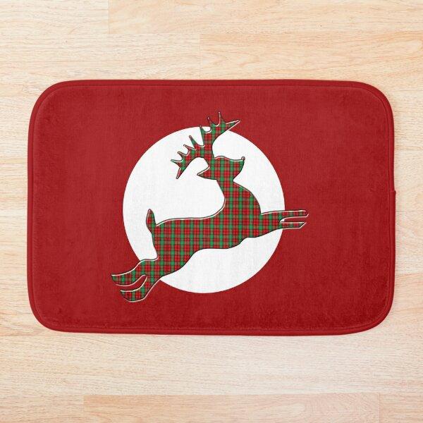 Tartan Reindeer with Moon Bath Mat