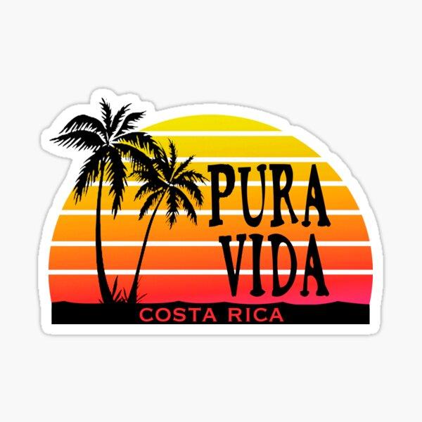 PURA VIDA Costa Rica Sun Palm Trees Sunset Sticker