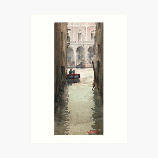 Venice Canal near Rialto Bridge Art Print