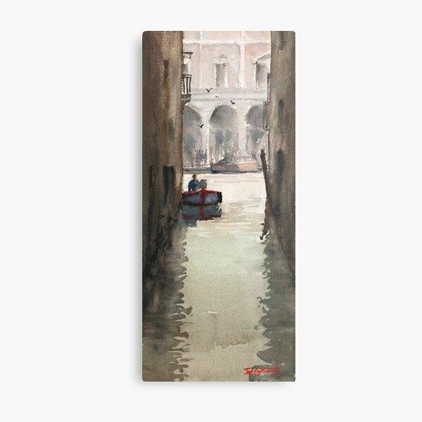 Venice Canal near Rialto Bridge Metal Print