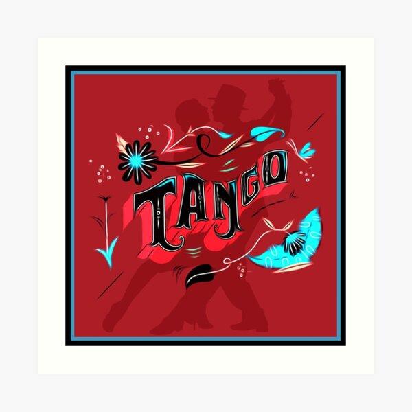 Red and Aqua Tango Fileteado Art Print