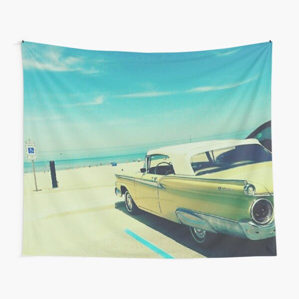 Old Fashioned Car on the Beach Tapestry
