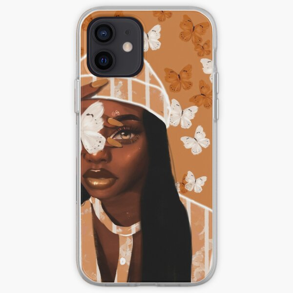 Faded, orange and white butterfly, portrait iPhone Soft Case