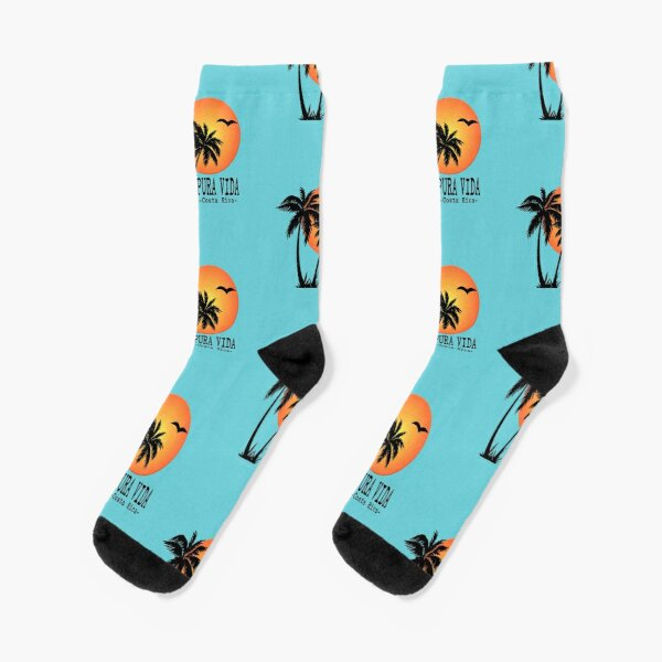PURA VIDA Costa Rica Sun Palm Trees Sunset Socks