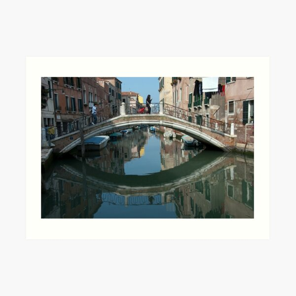 Crossing the Bridge, Venice, Italy Art Print