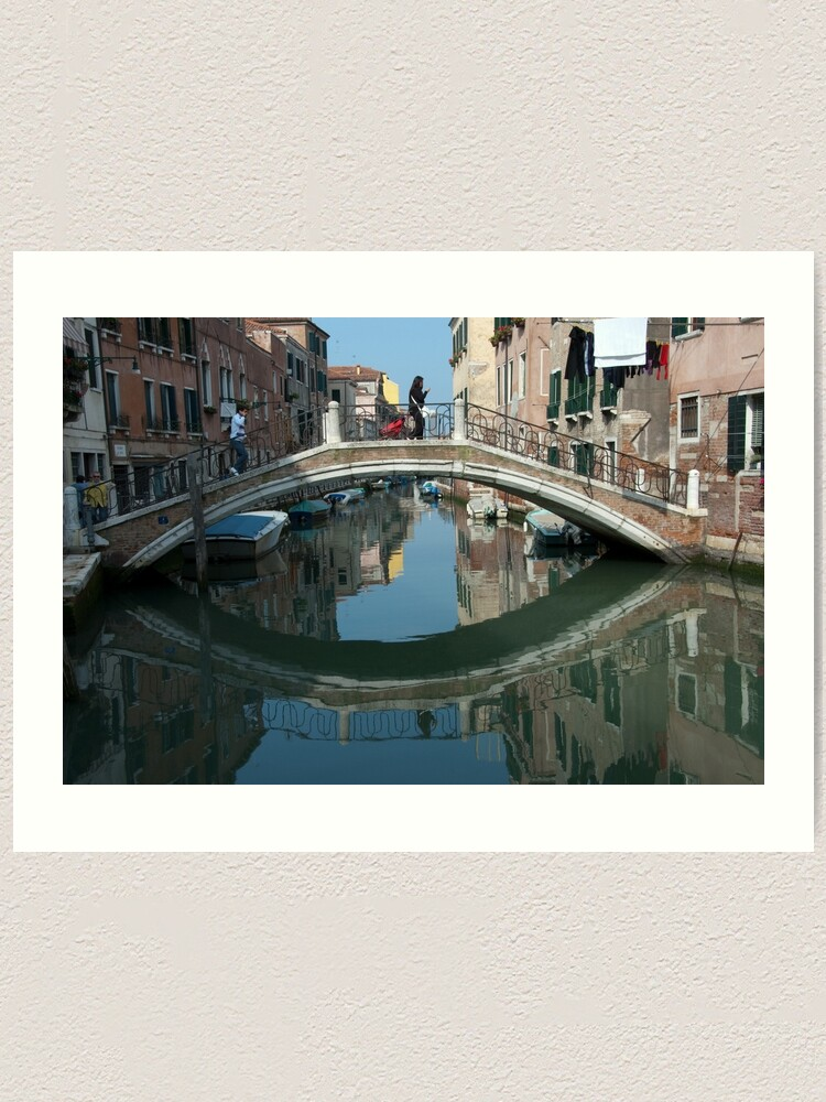 Alternate view of Crossing the Bridge, Venice, Italy Art Print