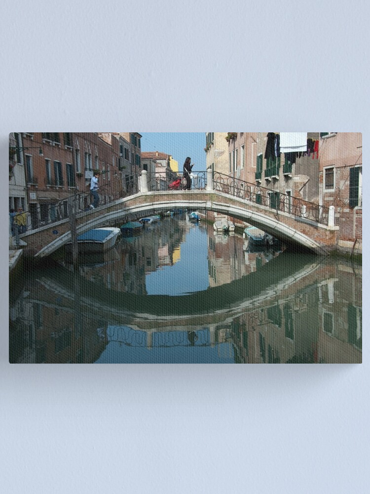 Alternate view of Crossing the Bridge, Venice, Italy Canvas Print