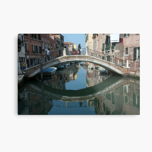 Crossing the Bridge, Venice, Italy Metal Print