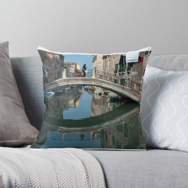 Crossing the Bridge, Venice, Italy Throw Pillow