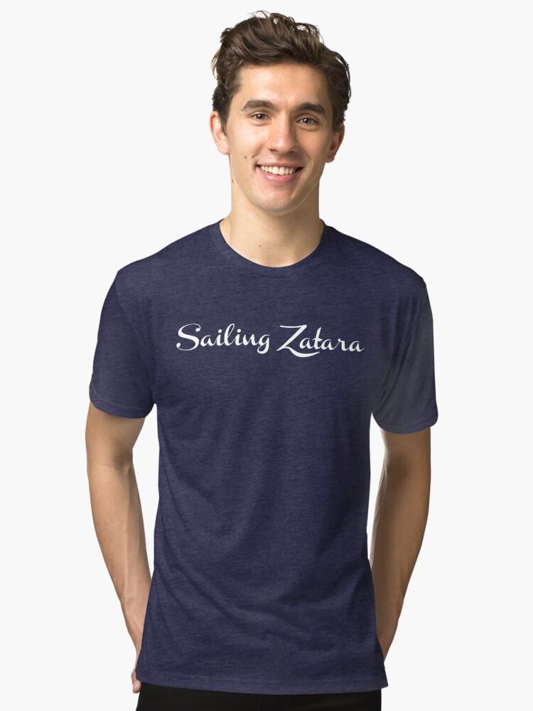 Alternate view of Sailing Zatara Logo - White Tri-blend T-Shirt