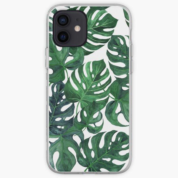 Tropical monstera leaves - Dark emerald green iPhone Soft Case
