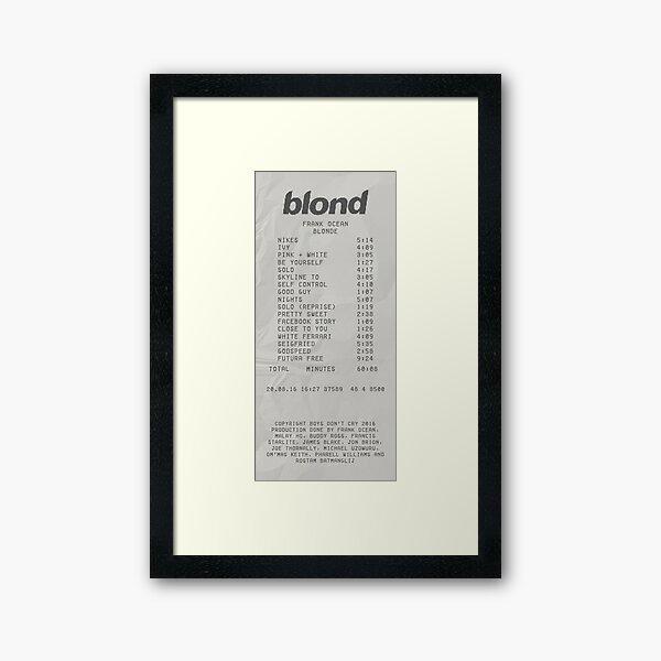 Blond Frank Ocean Receipt Print Framed Art Print