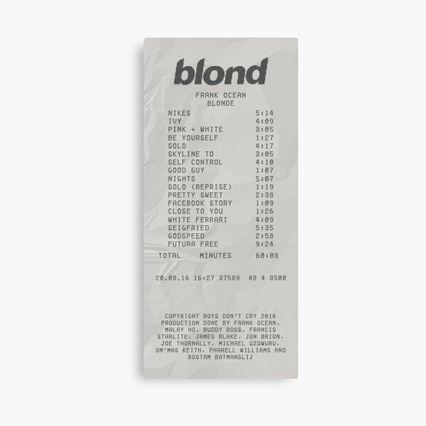 Blond Frank Ocean Receipt Print Canvas Print