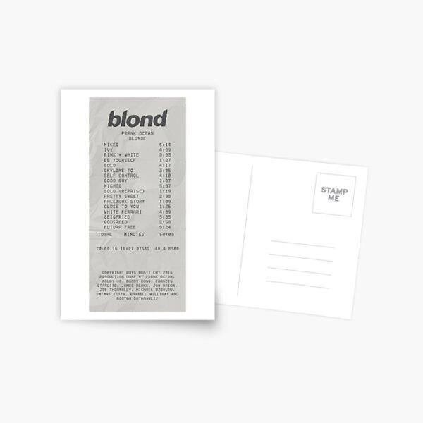 Impresión de recibo de Frank Ocean rubio Postal