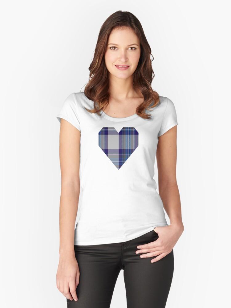 00459 Blue Dunnett Tartan  Women's Fitted Scoop T-Shirt Front