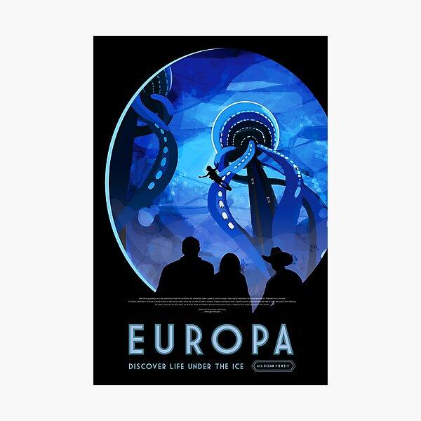 Space travel retro poster - Europa Photographic Print
