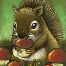 Baby squirrel and mushrooms by tanyabond