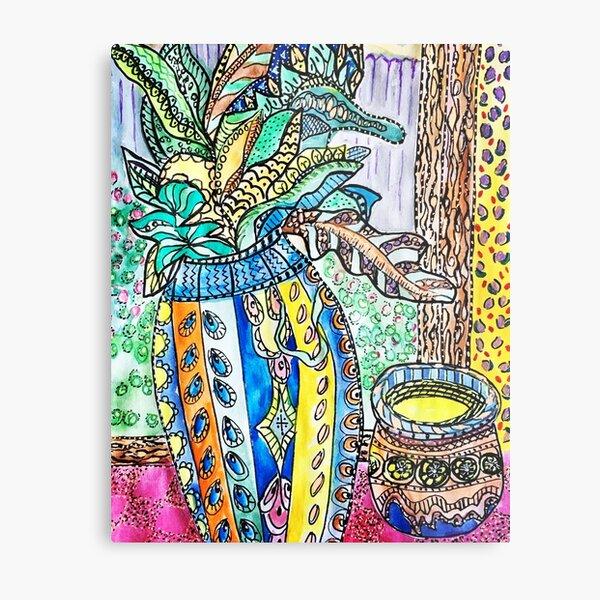 Happy pattern vase and flowers Metal Print