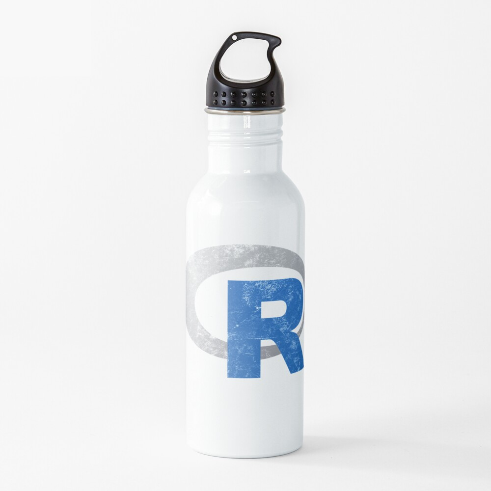 R logo programming Vintage Distressed design Water Bottle