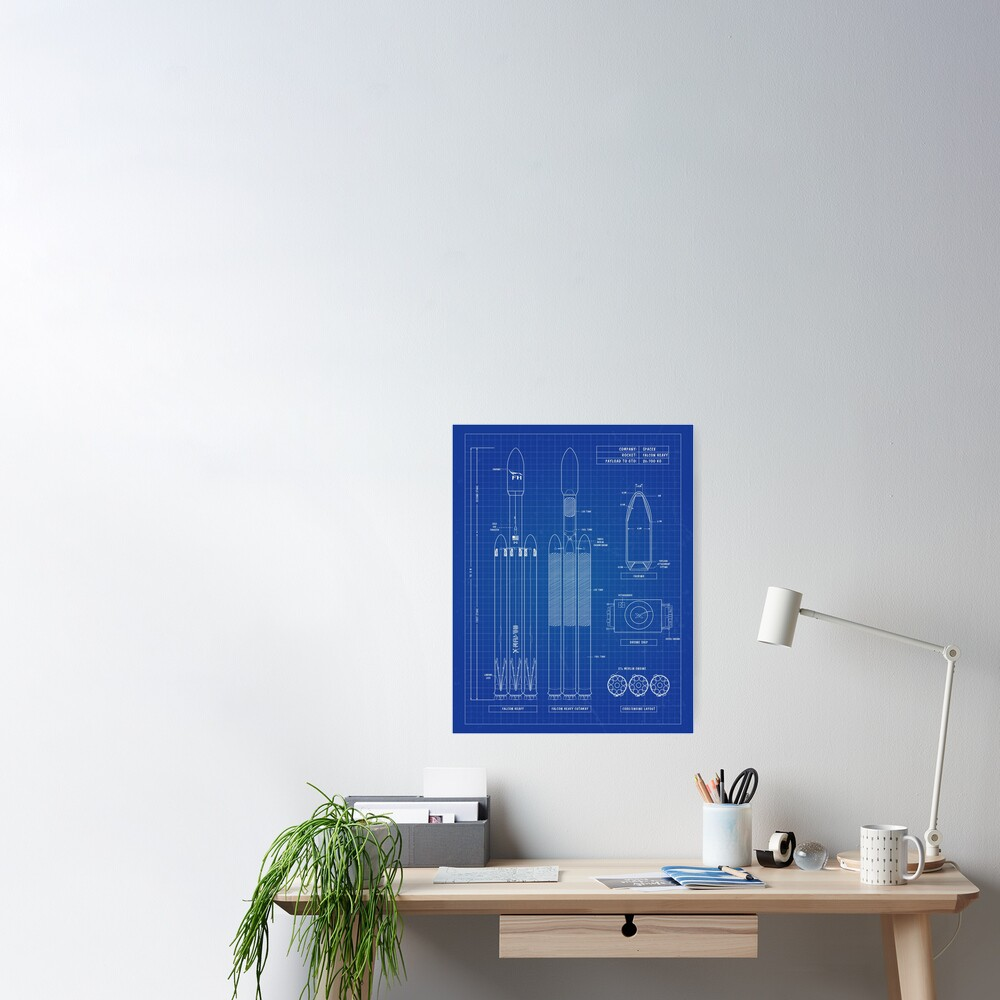 SpaceX: Falcon Heavy Rocket, Blueprint - English. Vertical Version Poster