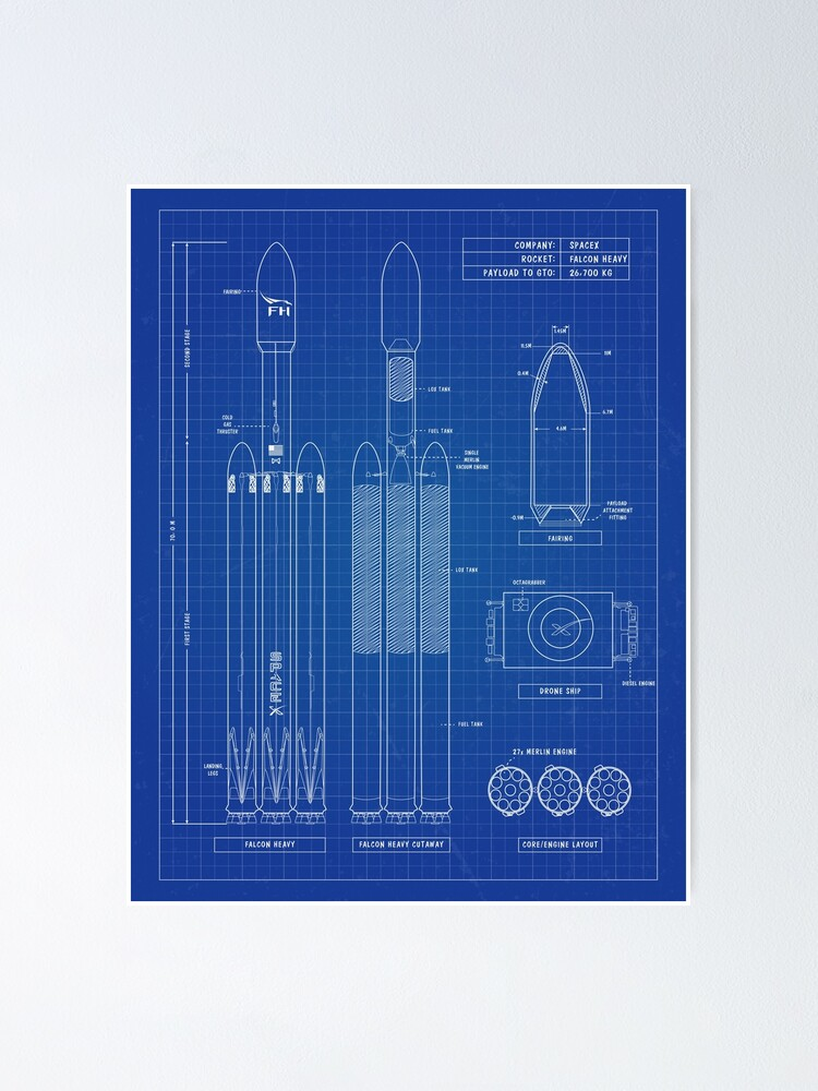 Alternate view of SpaceX: Falcon Heavy Rocket, Blueprint - English. Vertical Version Poster