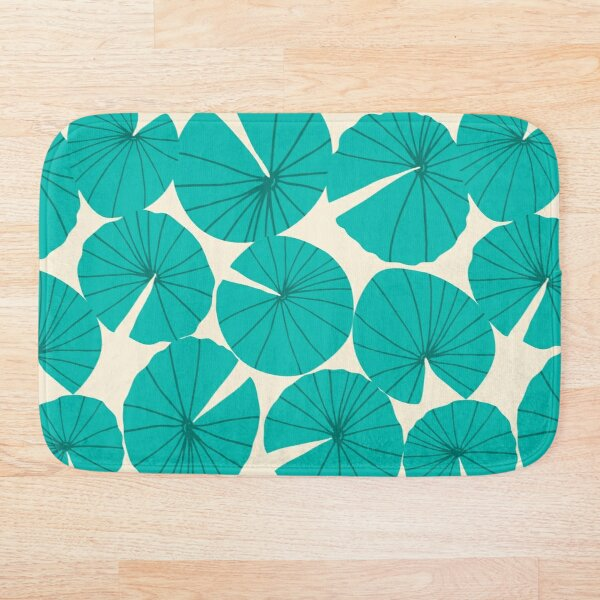 Lilypads Pond Waterlily Leaves in Teal Bath Mat