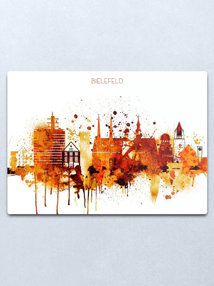 Alternate view of Bielefeld Germany Red Yellow Skyline Metal Print