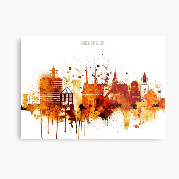 Bielefeld Germany Red Yellow Skyline Metal Print
