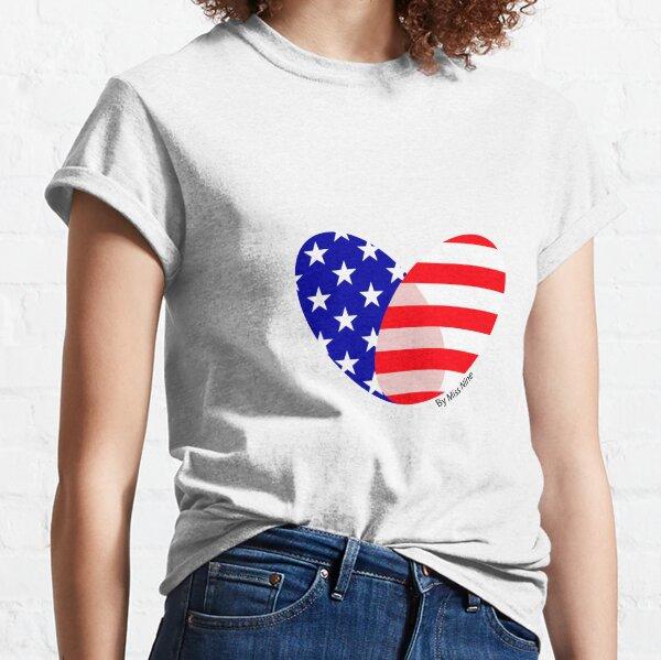 USA Flag Heart Transparent Classic T-Shirt