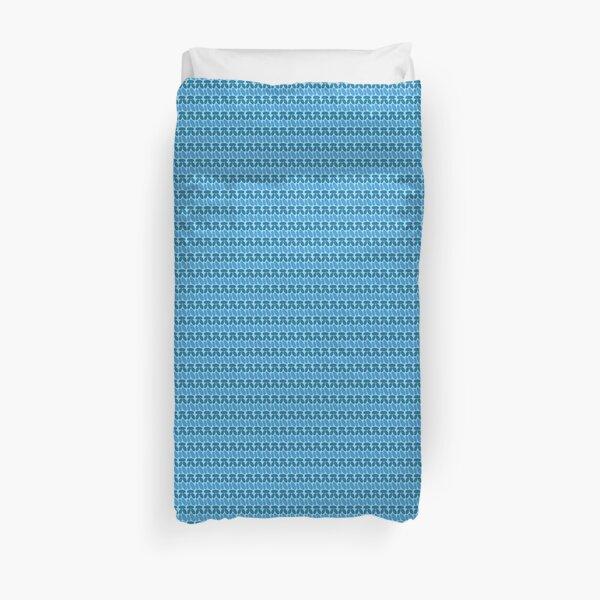 Faux crochet pattern in dark and light blue tones Duvet Cover