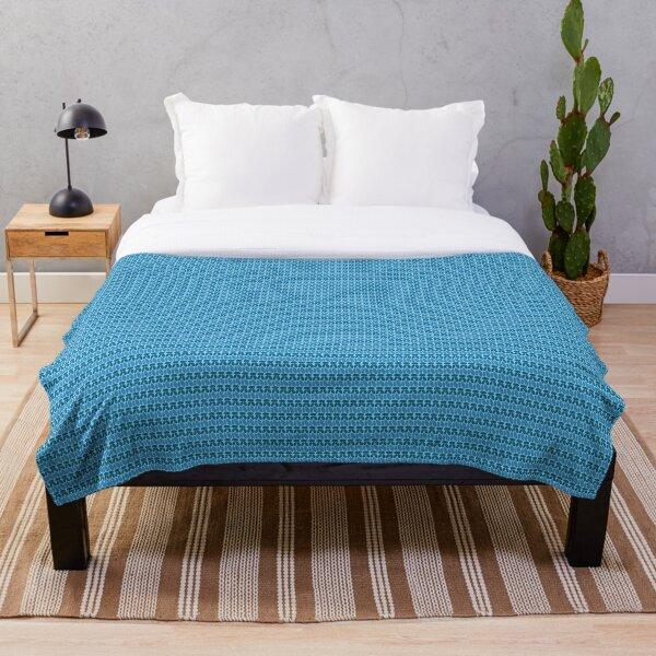 Faux crochet pattern in dark and light blue tones Throw Blanket