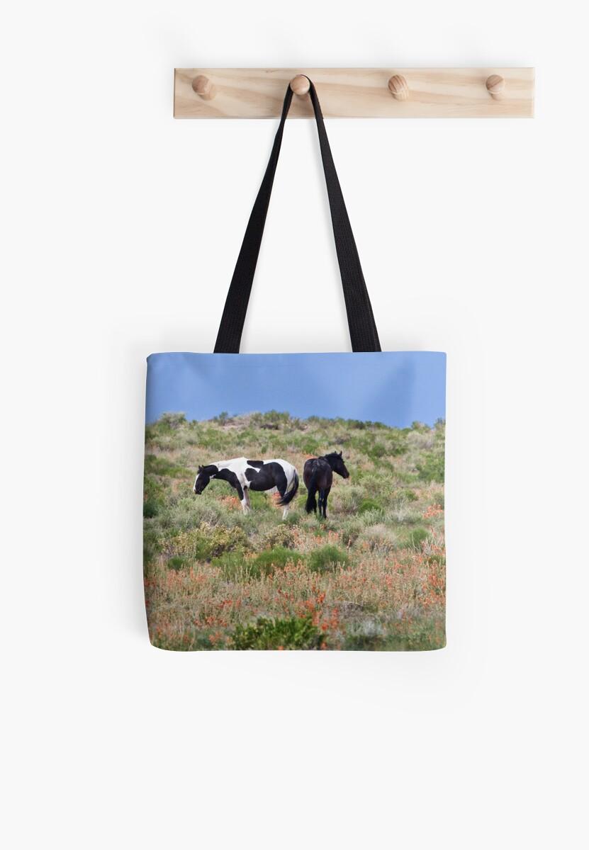 Wild Horses & Globe Mallow by Kim Barton