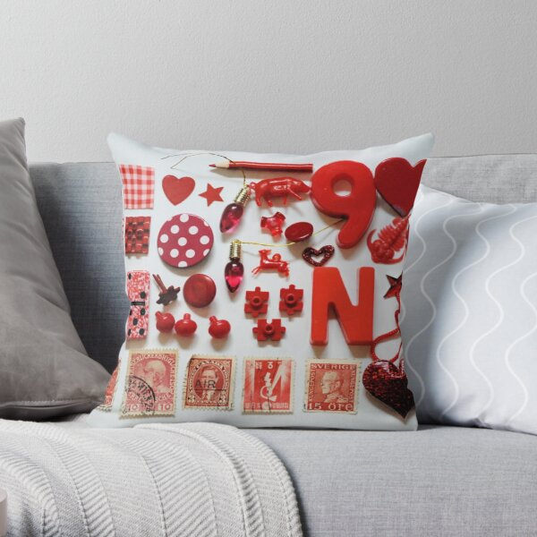Red Trinkets Throw Pillow